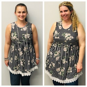 Striped and floral tank with crochet trim