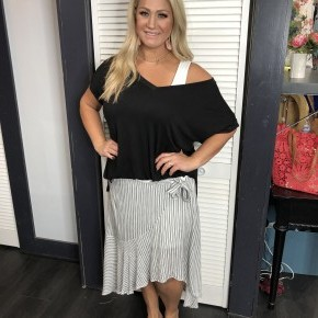 Pinstriped Maxi Skirt With Ruffles and Tie