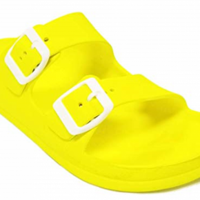 Neon Yellow Comfort Slides