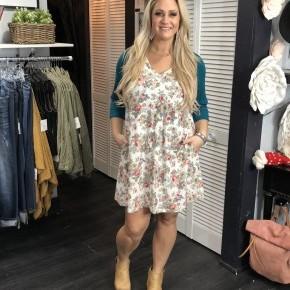 Teal & Floral Raglan Dress