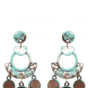 Teal and Bronze Abstract Earrings