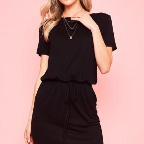 Solid black Midi Dress