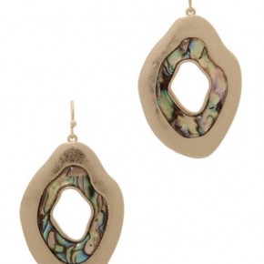 Gold and Stone Organic Shaped Earring