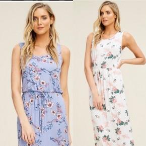 Elastic waist floral dress
