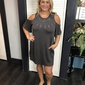 Open embroidery front cold shoulder dress
