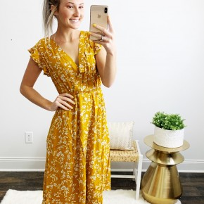 Golden Floral Dress with Ruffle cap sleeve and pockets!