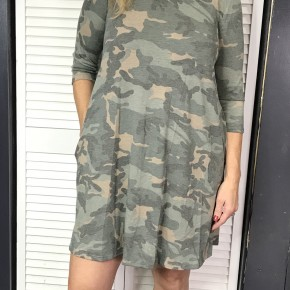 Camo 3/4 length Dress with Pockets