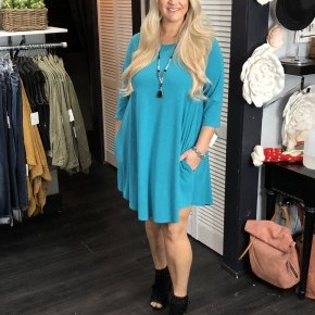 Teal 3/4 Sleeve swing dress with pockets