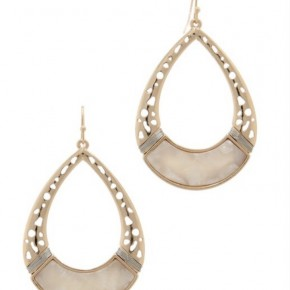 Gold Teardrop Earrings with Natural Stone