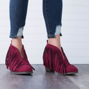Wine Ankle Booties with Fringe
