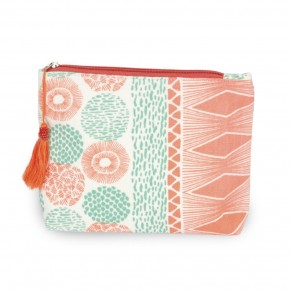 Coral and Mint makeup bag