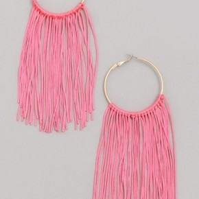 Neon Elongated Fringe Hoop Earrings