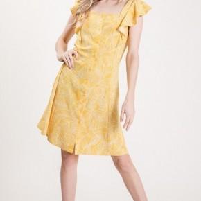 Beautiful Yellow Palm dress with ruffle detail