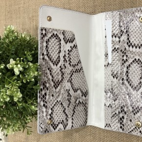 White snakeskin sleek wallet