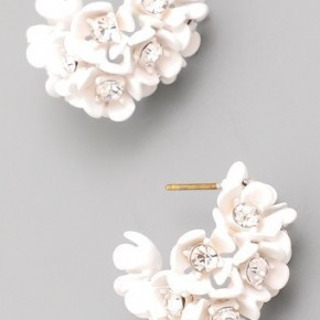 Mini flower half hoops with bling