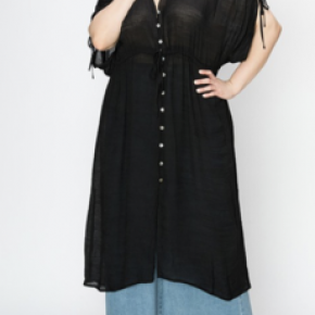 Black or rose button down cover up dress