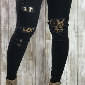 Black Leopard Patch Skinny Jeans