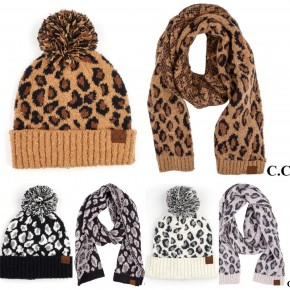 Matching CC Brand Leopard Print Scarf and Beanie Set (color choice)