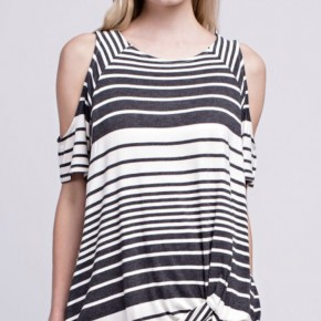 Charcoal Striped Twisted Top