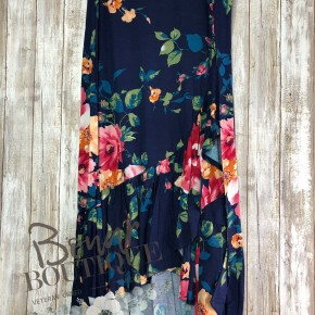 Navy floral wrap skirt.