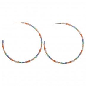 Multicolored Beaded Hoops
