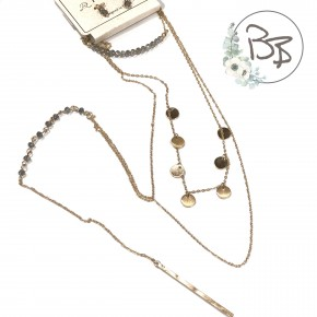 triple necklace and earrings set