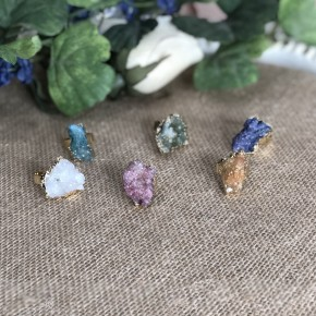 Adjustable Freeform Natural Druzy Gem Ring