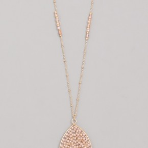 Oval crystal seed pendant necklace
