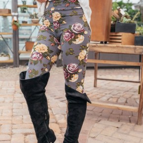 Grey floral legging
