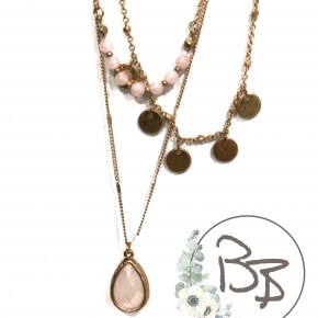 Triple necklace with Pink natural stone