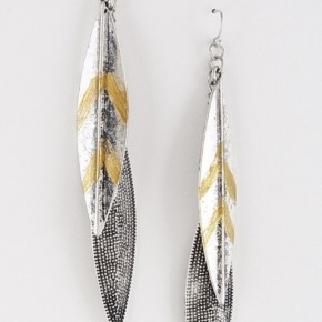 Metal Feather Style Dangle Earrings