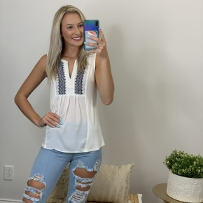 White V Neck top with Navy detail embroidery