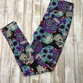Purple & Turquoise Sugar Skull Leggings - TC