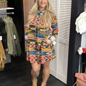 Aztec Hooded Dress