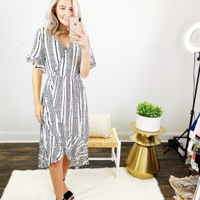 Black And White Striped Front Ruffled Midi Dress
