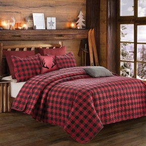 Rustic red and black plaid 3 piece bedding set.