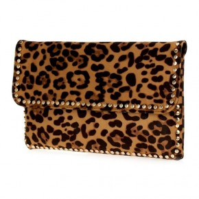 Leopard clutch with gold detail