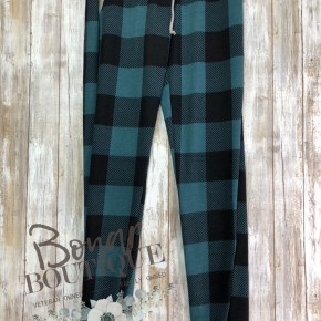 Turquoise Plaid Joggers