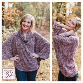 Heathered Wine Loose Dolman Sweater Top
