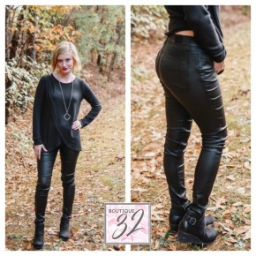 Take On The Town Black Coated Skinnies