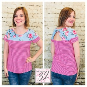 Pink Stripe and Floral Top with Cutout Back
