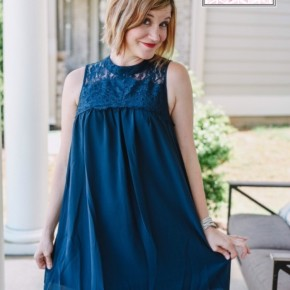 Navy Lace and Chiffon Dress