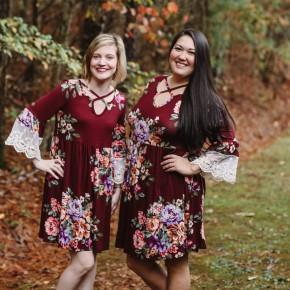 Burgundy Floral Boho Dress