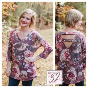 Burgundy Floral Top with Ladder Cutout