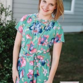 Kelly Green Floral Tie Dress