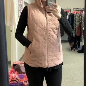Blush Pink Cordoroy Quilted Vest