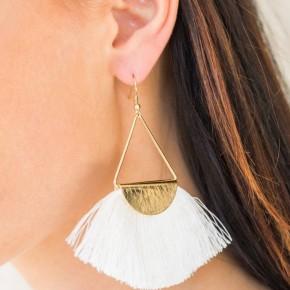White Fringe Earring