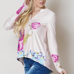 FLORAL PRINT LONG SLEEVE V-NECK TOP