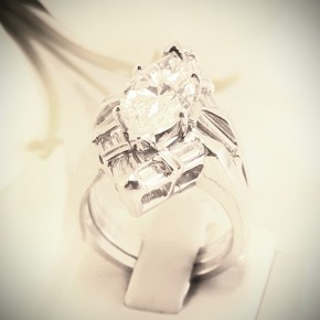 3.02 Carat Marquise Diamond Ring + 1.00 Carat Diamond Ring Cradle