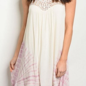 SLEEVELESS SCOOP NECK TIE DYE DETAIL RELAXED DRESS